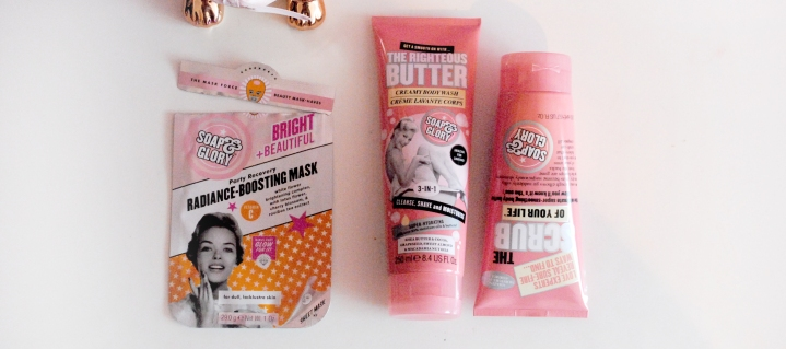 Soap and Glory sheet mask product seen with other Soap and Glory products reviewed on plus size blog