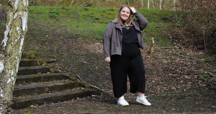 Black Pink Clove Culottes bought from Asos seen modeled on plus size girl