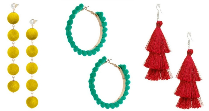 Statement earrings yellow, green and red suitable accessories for plus size outfit